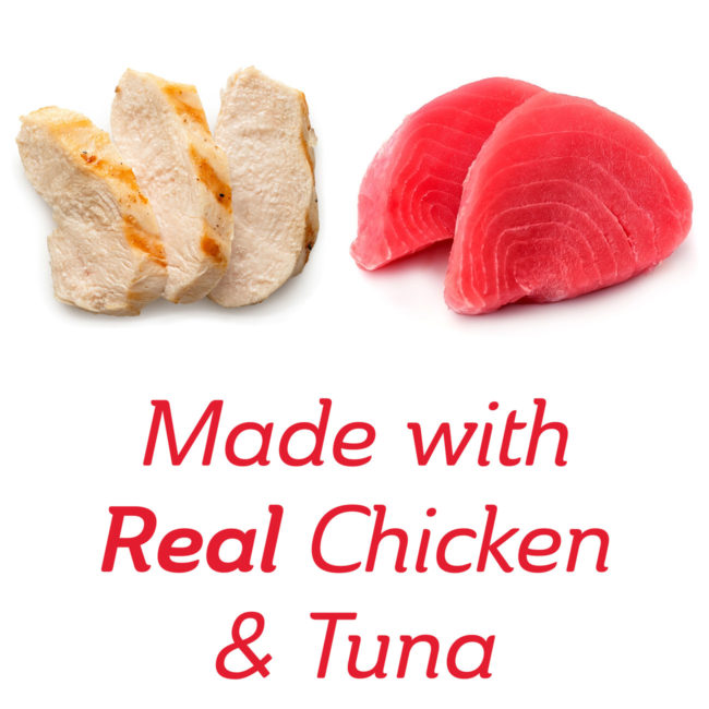 Made with real chicken and tuna cat treat.