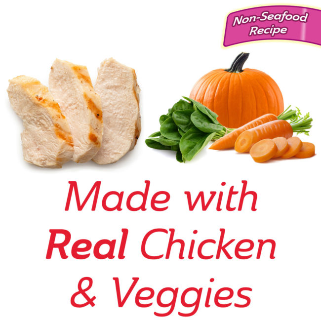 Made with real chicken and vegetable cat treat.