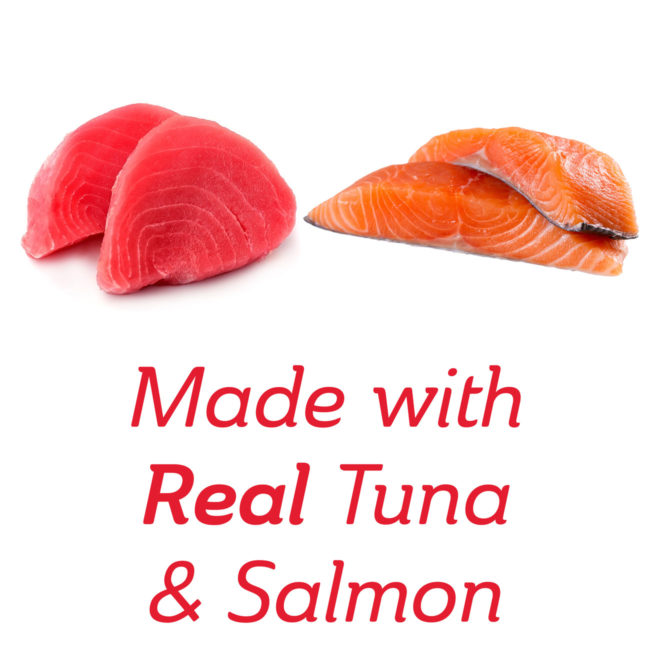 Made with real tuna and salmon cat treat.