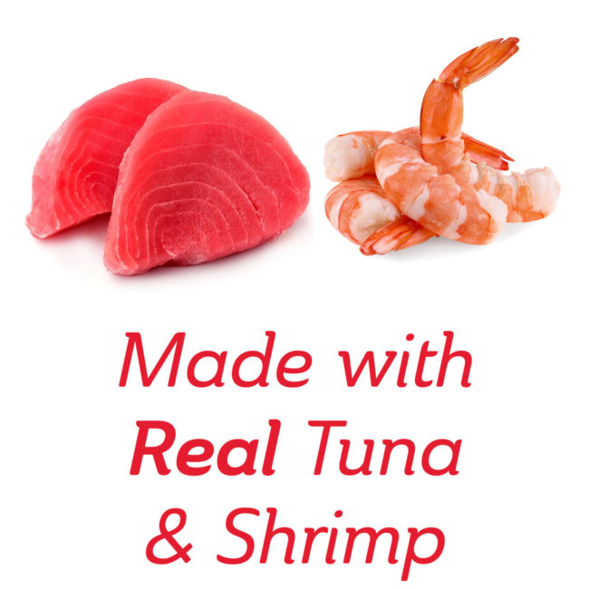 Made with real tuna and shrimp cat treat.