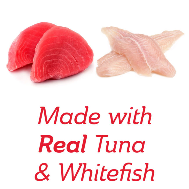 Made with real tuna and whitefish cat treat.