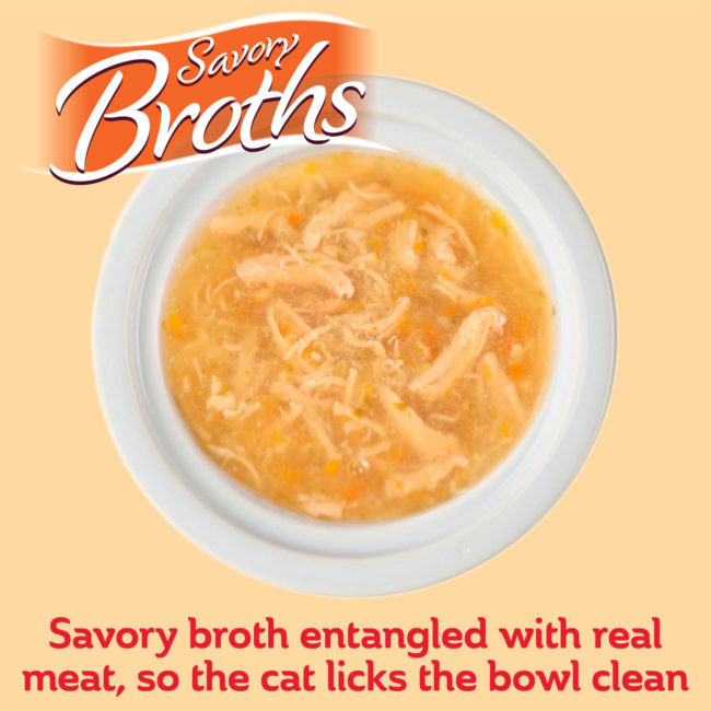 Savory broths are entangled with real meat so that cats lick the bowl clean.