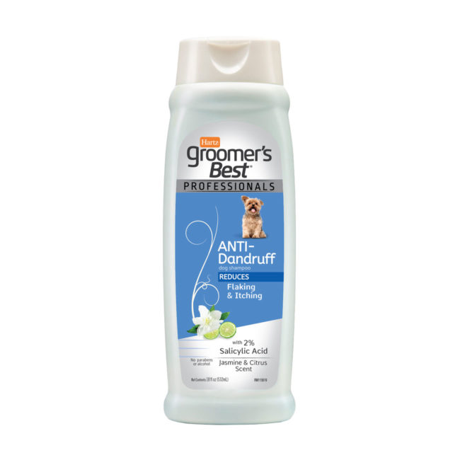 Hartz groomer's best professionals anti-dandruff dog shampoo. Front of bottle. Hartz SKU# 3270011376