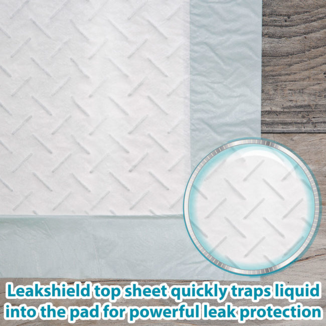 Leakshield quickly traps liquid into the dog pad.