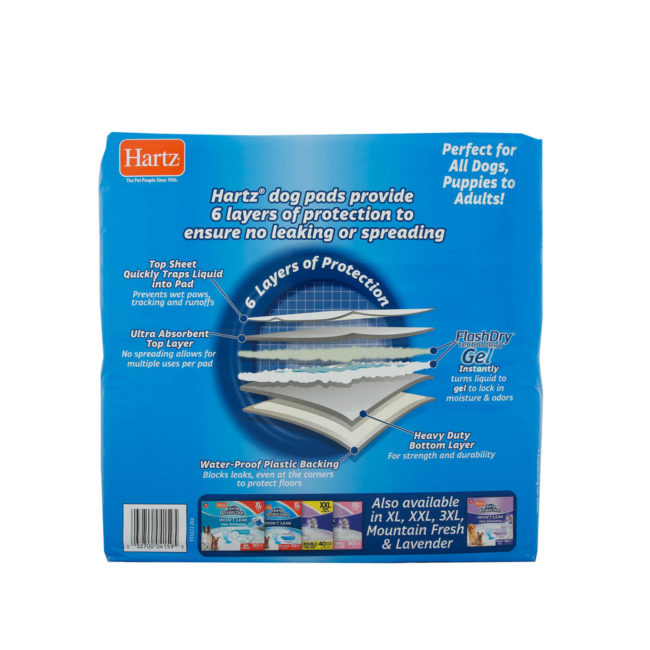 Hartz Home Protection Dog Pads. Back of 50 count package. Hartz SKU# 3270004159