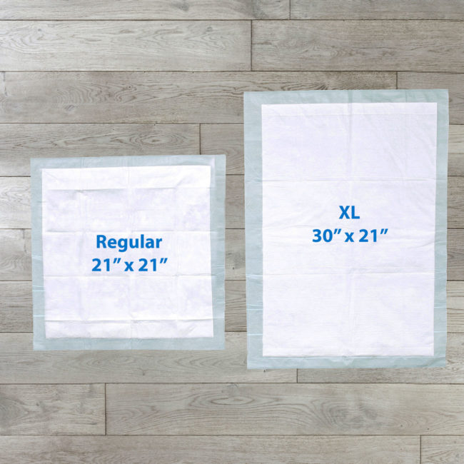 Hartz Home Protection training pads come in regular and XL sizes.
