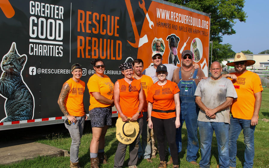 Volunteers from Rescue Rebuild who worked on a Hartz sponsored shelter renovation. Helping dogs and cats in need.